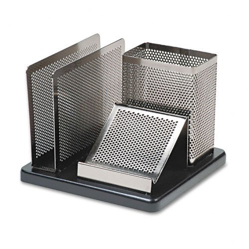 Black Silver Rolodex - Rolodex : Distinctions Desk Organizer, Metal/Wood, 5 7/8 x 5 7/8 x 4 1/2, Black/Silver -:- Sold as 2 Packs of - 1 - / - Total of 2 Each