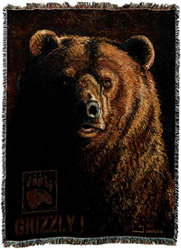 Pure Country Weavers - Shadow Beast Grizzly Bear Lodge Cabin Hunting Decor Woven Tapestry Throw Blanket with Fringe Cotton USA Cotton 72x54