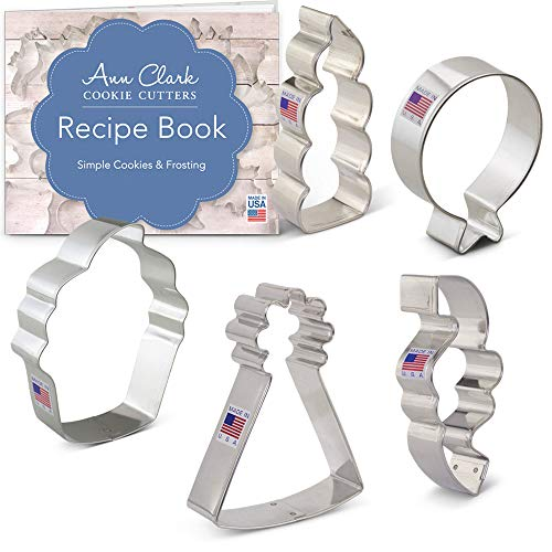 Birthday Cookie Cutters Set with Recipe Booklet - 5 piece - Balloon, Party Hat, Cupcake, Candle, Confetti - Ann Clark - Tin Plated Steel