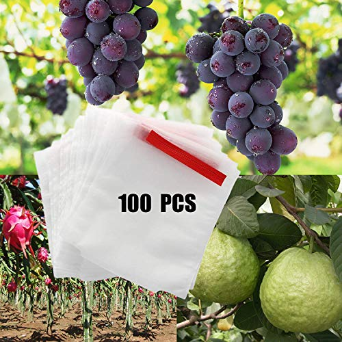 Alltripal 100 PCS Reusable Fabric Fruit Protection Bags Reusable Nylon Mesh Netting Barrier Bags for Apple Grape Mango Pear Fruit and Vegetable Against from Birds(7.87X9.84inch, 100pcs)