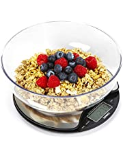 Duronic Kitchen Scale KS3000 5KG Stainless Steel Round Digital Display 5KG with 18.5cm Diameter Clear Mixing Bowl   Postal Scale Capacity: 5kg / 11lb