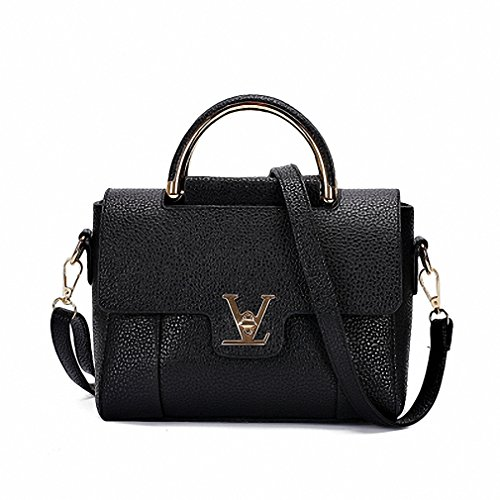V European Office Cross Body Leather Hand Bag(Black) - 1