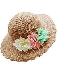 Bienvenu Girl Kids Summer Wide Brim Floppy Beach Sun Visor Hat with Flowers, Khaki