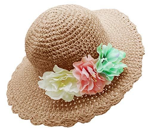 Bienvenu Girl Kids Summer Wide Brim Floppy Beach Sun Visor Hat with Flowers, Khaki -