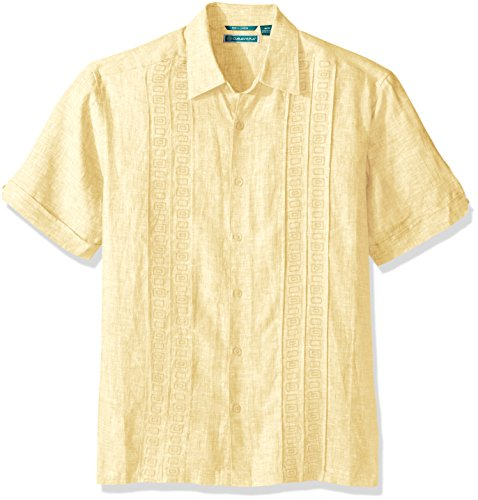 cubavera-mens-short-sleeve-cross-dye-tuck-embroidered-woven-shirt-sunlight-m