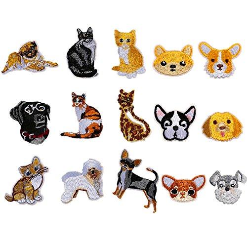 ワッペン 動物の小さい 刺繍ワッペン アイロン接着 15枚セット ネコ ねこ 猫 キャット cat 犬 いぬ イヌ DOG 子供用ワッペン 可愛い 刺繍ワッペン 入園 入学 キャラクターワッペン マーク 幼稚園 保育園 小学校 アップリケお祝いギフト