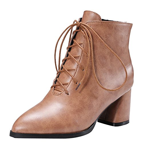 Charm Foot Womens Western Lace Up Chunky High Heel Short Boots Yellow Brown B2iZhsOPm4