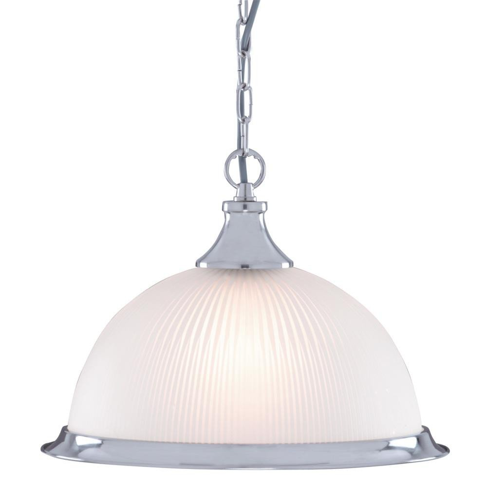 American Diner Satin Silver and Opaque Glass Ceiling Pendant Light, 1044 Searchlight