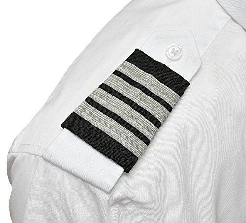 Aero Phoenix Professional Pilot Uniform Epaulets - Four Bars - Captain - Silver Nylon on Dark Navy