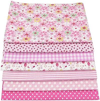 7 piezas 49cm * 49cm tela de algodón rosado para patchwork,telas para hacer patchwork, telas tilda, retales de telas, tela algodon por metros: Amazon.es: Hogar