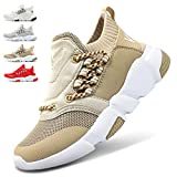 WETIKE Kids Shoes Boys Girls Sneakers High Top Lightweight Sports Shoes Slip On Running Walking School Casual Tennis Wrestling Trainer Shoes Soft Knit Mesh Grey Size 1