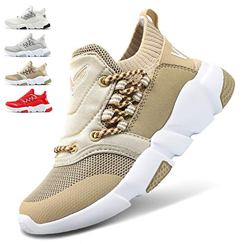 (WETIKE Boys Shoes Kids Sneakers Girls Lightweight Sports Shoes Slip On No Tie Running Walking School Shoes Casual Trainer Shoes Soft Knit Tennis Mesh Shoes Khaki Size 6)