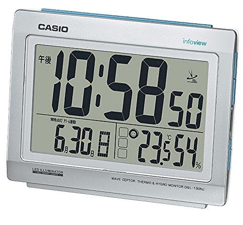CASIO 카시오 온도・습도계・밤에도 잘보이는  라이트 부착 생활환경 통지 전파 clock 《샤》인 실버 DQL-130NJ-8JF