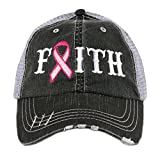 Faith Pink Ribbon Breast Cancer Awareness Women's Trucker Hat Cap by Katydid