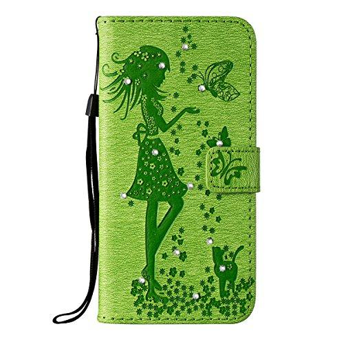 Funda iPhone 7 Plus, Funda de brillo iPhone 7 Plus, Lifetrut Sólido Shiny Sparkle Libro de Estilo de Cuero con Ranura para Tarjetas de Cierre Magnético Soporte Funda de Teléfono de la Función con Corr E203-Verde