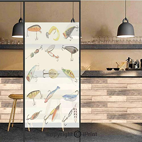 3D Decorative Privacy Window Films,Several Fish Hook Equipment Objects Trolling Angling Netting Gathering Activity,No-Glue Self Static Cling Glass film for Home Bedroom Bathroom Kitchen Office 24x36 I ()