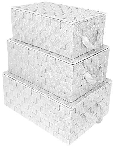 Sorbus Storage Box Woven Basket Bin Container Tote Cube Organizer Set Stackable Storage Basket Woven Strap Shelf Organizer Built-in Carry Handles (Woven Lid Baskets - White) (Storage Wicker With Lids Bins)