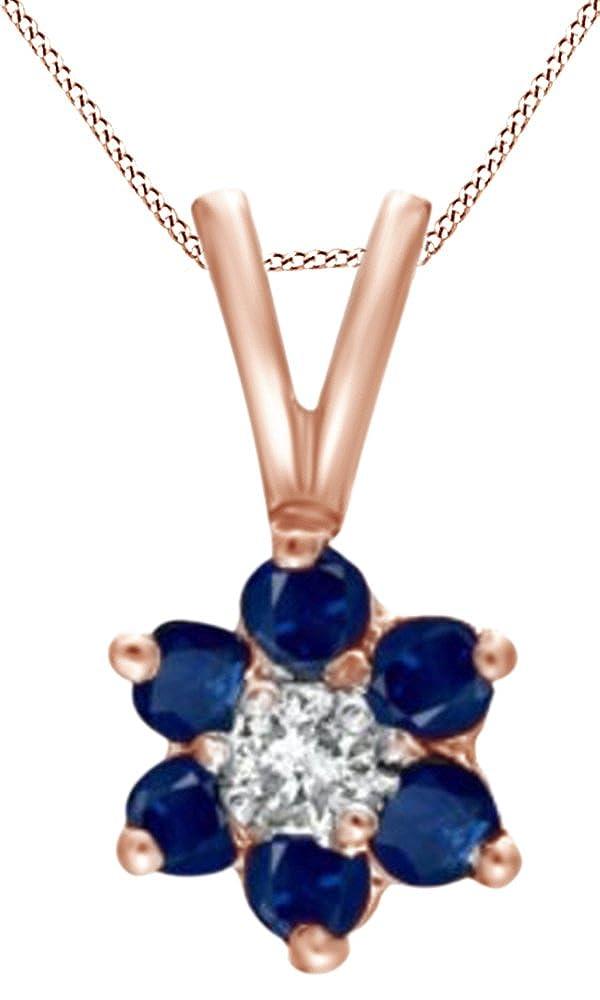 ホワイト天然ダイヤモンドアクセント&シミュレートブルーサファイアフラワーペンダントネックレス14 K Solidゴールド B075T82DD3
