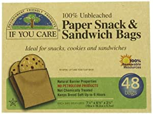 If You Care 100% Unbleached Paper Sandwich AND Snack Bags, 48-Count Packages (Pack of 6)