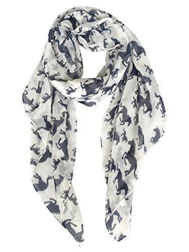 Horse Head Pattern - GERINLY Scarves - Horses Print Shawl Wraps Animal Pattern Fashion Scarf (White+Blue)