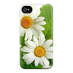 Protective Hard Cell-phone Cases For Apple Iphone 4/4s With Customized Attractive Nature Flowers Three Daisies Series JoannaVennettilli