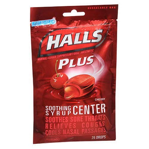 Liquid Center - Halls Soothing Syrup Center Cherry Flavor Menthol Drops 25 ea