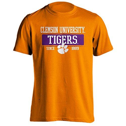 Southland Graphics Apparel Clemson University Tigers Since 1889 Bar Mascot Logo Short Sleeve T-Shirt (Orange, XL) (T-shirt Mascot Tradition)