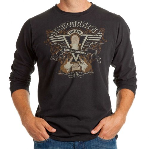 ON AIR; Rock'n'Roll Longsleeve Herren, S-XL, black, ; PREMIUM Langarmshirt handprinted