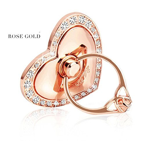 Universal Phone Ring Bracket holder ,UCLL Love Heart Diamond Shape Finger Grip Stand Holder Ring Car Mount Phone Ring Grip Smartphone Ring stent Tablet Rose Gold by UCLL (Image #2)