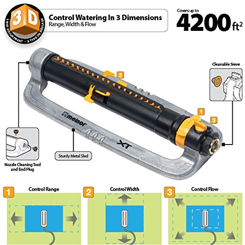 Melnor XT Metal Oscillating Lawn Sprinkler with Width, Range and Flow Control, Waters up to 4,200 sq.ft.-(XT4200M) by Melnor (Image #3)