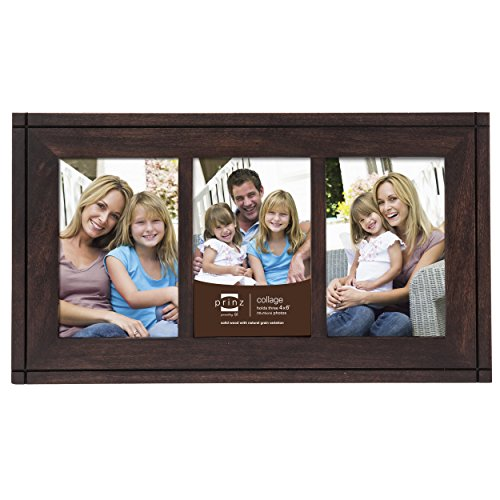 PRINZ 3-Opening Dryden Hinged Wood Frame, 4 by 6-Inch, (Opening Espresso Frame)