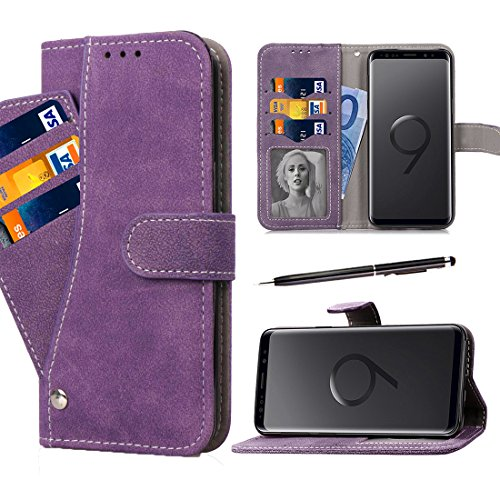 Galaxy S9 Case, GZIRUE 6 Card Slots [Stand Feature] Magnetic Closure Vintage Matte Leather Soft TPU Case Book Style Folio Flip Wallet Case Cover with Rotate Card Holder for Galaxy S9 (Purple) ()