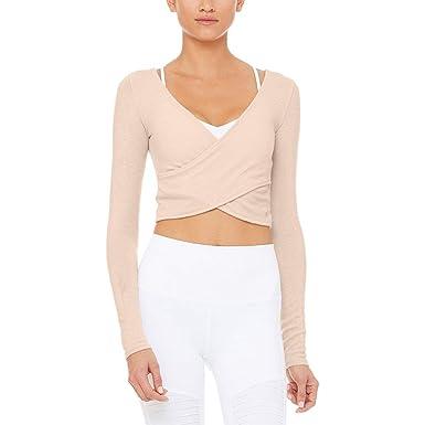 57dfb2e5b608d Alo Yoga Amelia Luxe Long-Sleeve Crop Top - Women's Nectar Heather, ...