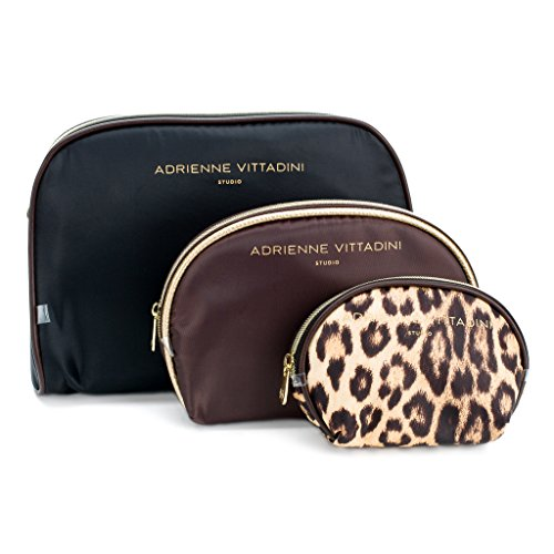 Adrienne Vittadini Cosmetic Makeup Bags: Compact Travel Toiletry Bag Set in Small, Medium and Large for Women and Girls - Black and Brown Leopard by ADRIENNE VITTADINI (Image #1)