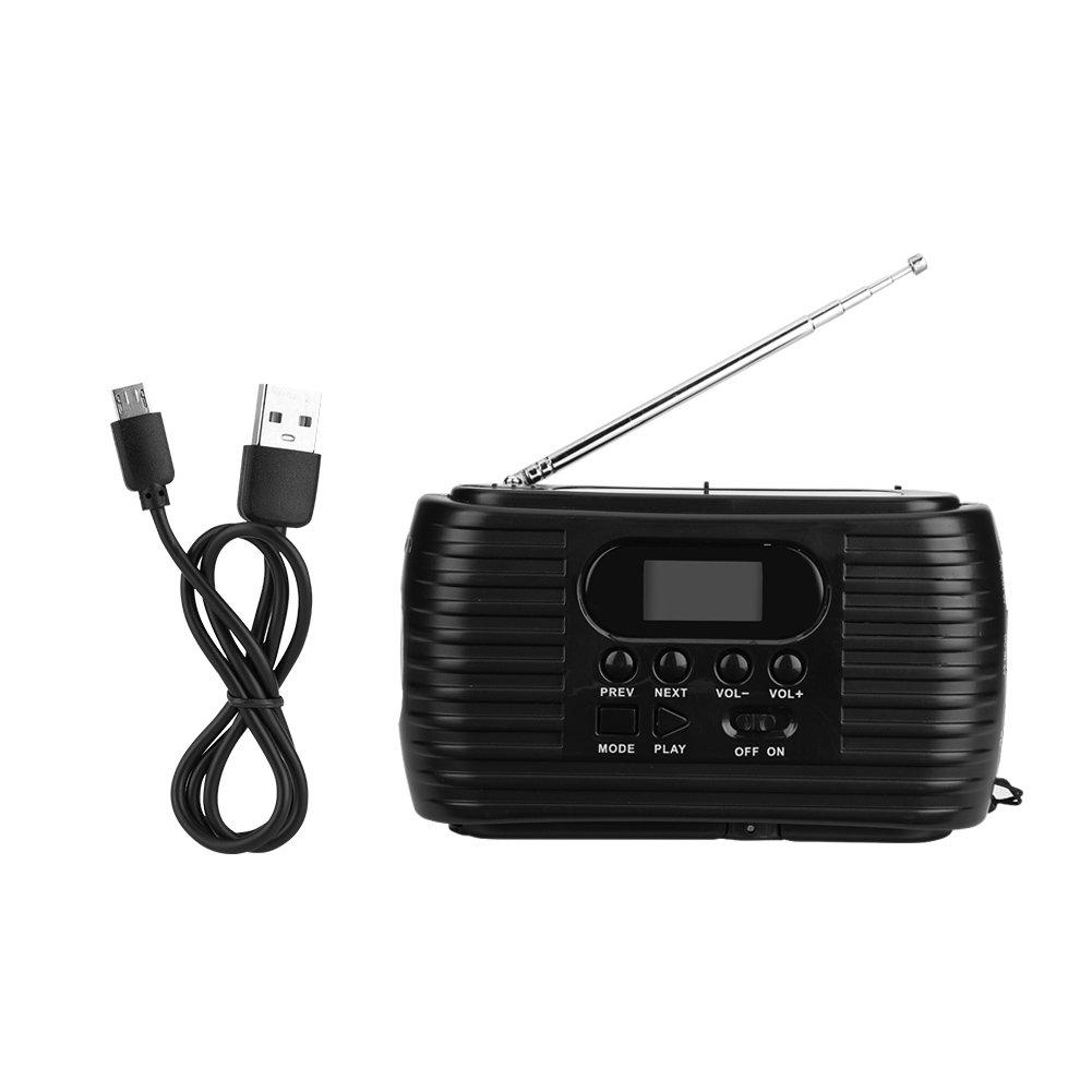 Zerone Portable Hand Crank Power & Solar Power Supply Emergency AM/FM Radio Mp3 Music Player (Black)