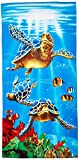 De Moocci Beach Towel 100% Cotton - Bright Colors - Soft on The Skin - Excellent Water Absorption - Sea Turtles