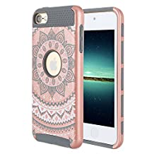 iPod Touch 6 Case,iPod Touch 5 Case, Rosepark [Flowers Pattern] 2-Piece Style Slim Fit Hybrid Hard Armor Case Cover for Apple iPod touch 5 6th Generation(Rose Gold+White+Grey)