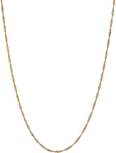Mia Diamonds 14k Rose Gold 1.8mm Diamond-cut Rope Chain Necklace Anklet
