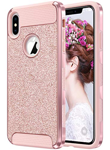 ULAK iPhone Xs Max Case, Sparkly Glitter Bling Slim Shockproof Protective Shiny Girl Women Faux Leather Soft TPU Bumper & Hard PC Phone Cover for Apple iPhone Xs Max 6.5, Rose Gold