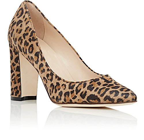 Leopard Sexy Shoes AIWEIYi Party Heel Fashion Women's High Chunky Pump ERUR7qwz