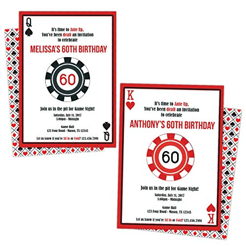 Casino Invitations Poker Birthday Party Baby Shower Engagement Party Invites -
