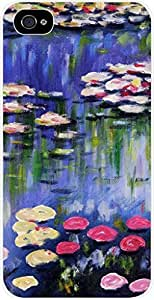 Claude Monet Water Lilies - Case for the Apple Iphone 4-4s Universal- Hard White Plastic wangjiang maoyi