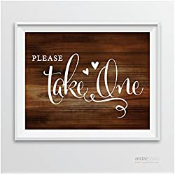 Andaz Press Wedding Party Signs, Rustic Wood Print, 8.5-inch x 11-inch, Please Take One, 1-Pack