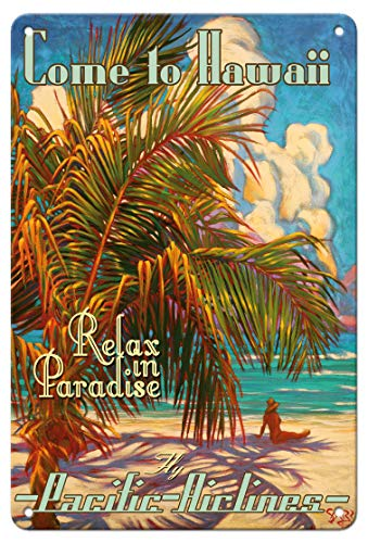 Tin Hawaii (Pacifica Island Art 8in x 12in Vintage Tin Sign - Come to Hawaii - Relax in Paradise - Pacific Airlines Rick Sharp)