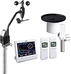 ECOWITT HP3501 TFT Wi-Fi Weather Station with Solar Powered Wireless Anemometer, UV & Light Sensor, Self-Emptying Rain Collector, Color Graph Display, Weather APP and PC Software