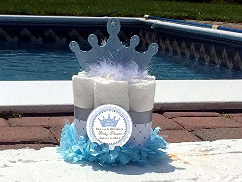 BLUE LITTLE PRINCE Baby Shower Mini Diaper Cakes - Handmade by LMK Gifts