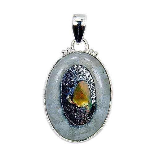Hidden Treasure' Sterling Silver Rare Rough Ethiopian Opal (Rare Fire Agate Pendant)