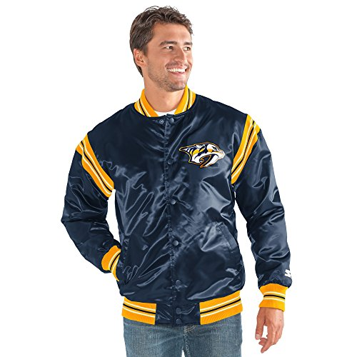 STARTER NHL Nashville Predators Men's The Enforcer Satin Jacket, Large, Navy