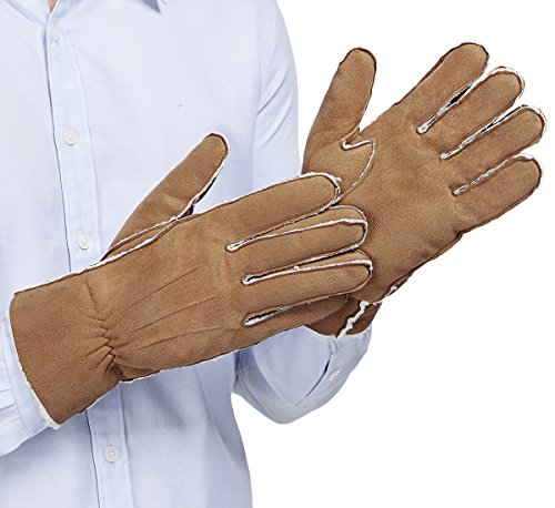 (LETHMIK Faux Suede Winter Gloves Mens Warm Thick Fleece Lined Elasticated Cuff Light Brown-XL )
