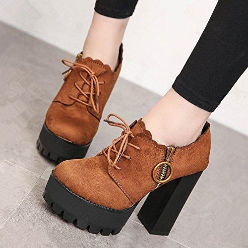 De Princesa Zapatos Mujer Primavera Zapatos Gruesos Zapatos Tacón Corte Zapatos De Zapatos Sola Brown De Encaje Bajo De Zapatos Zapatos GAOLIM Con Trenza cq8vHwZAx7
